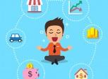 Ilustração de empresário com diferentes opções de investimento