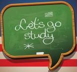 """balão com a frase """"vamos estudar"""" em inglês"""