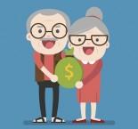 desenho de senhores segurando saco de dinheiro