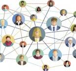 desenho de rostos de pessoas dentro de um circulo