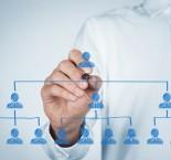 foto de homem desenhando estrutura hierárquica na empresa