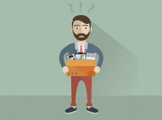 desenho de homem segurando caixa com seus pertences