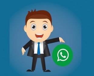 desenho de boneco apontando para símbolo do whatsApp